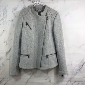 Gap Gray Hersey Knit Moto Jacket Size Small